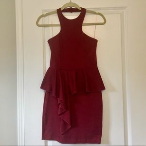 Solemio red halter peplum dress Small